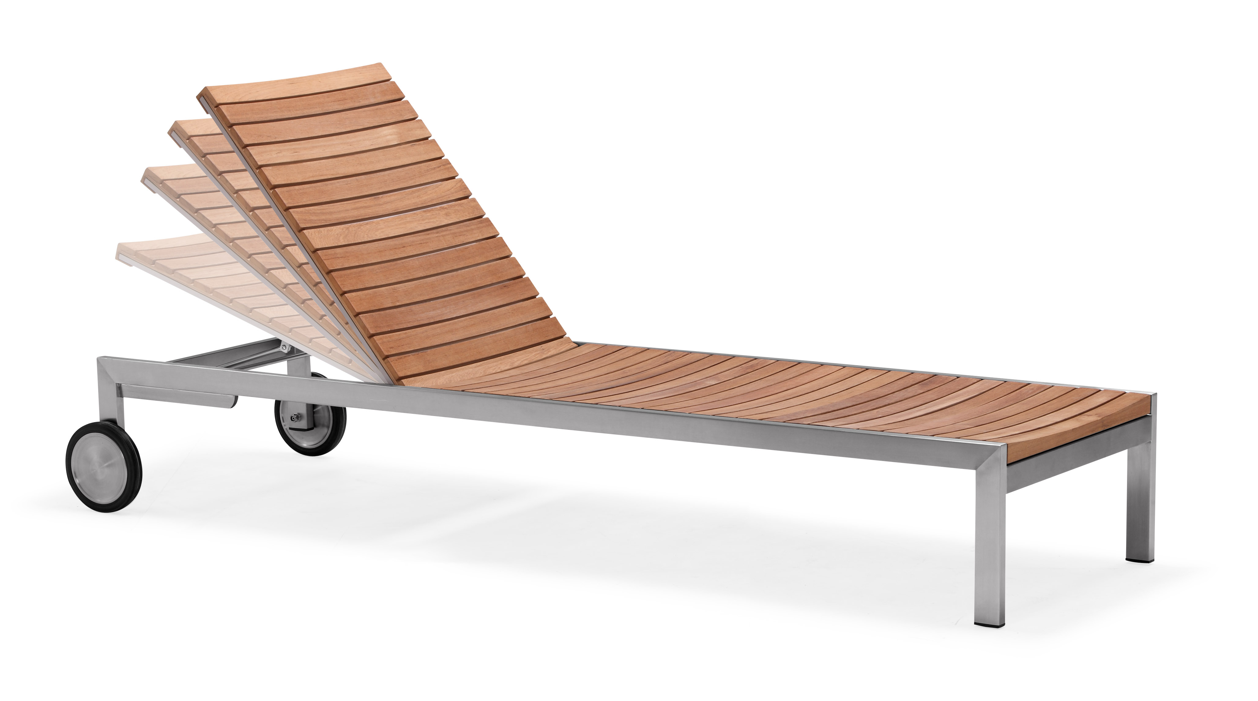 Weather proof outdoor chaise lounge teak sun lounger armless (CS001M)